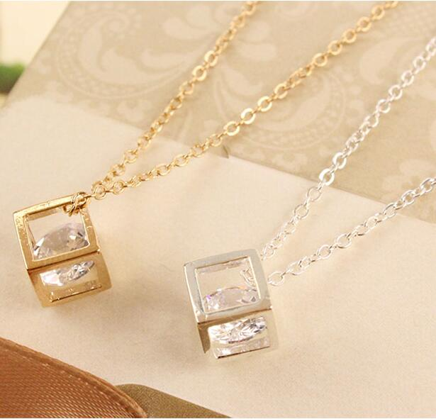 N1036 2016 New Fashion Korean version of the three-dimensional cube box chain necklace happiness Jewelry Wholesale(China)