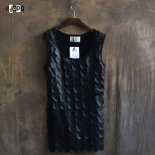 New Arrival Men`s Punk T-shirt PU Leather Fish Scale Rock Singer Performance Stage Black Tees Shirt Stage Costumes