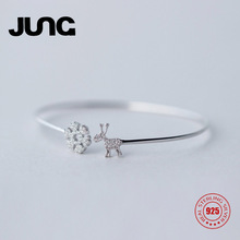 JUNG[Dez.23 Buy 1 get 1] AAA Zircon Snowflakes & Deer Bought 925 Stering Silver Bangles Jewelry For Women Christmas Gift S170087(China)