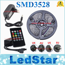 Waterproof RGB LED Strip 5M 300Leds SMD3528 Music Controller 12V 2A Power Adapter Flexible Light Led Tape Home Decoration Lamps