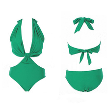 Sexy One-piece Nylon Swimwear Bathing Suit Woman Green Bikini Swimsuit S M L 120g Sexy Backless Solid Color Europe Beach Pool(China)