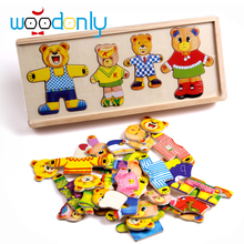 Wooden Bear Change Clothes Scene Dress Puzzle Educational Kids Toys Montessori Wooden jigsaw puzzle Free shipping