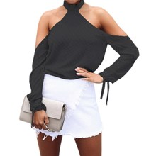 2017 Womens Sexy Turtleneck Backless Long Sleeve Off Shoulder Bow Casual Blouse Club Shirt Tops
