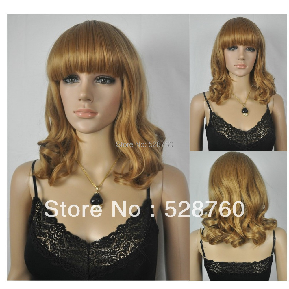 Attractive blonde curly wig  Medium/Long Wig custom wigs  Free shipping<br><br>Aliexpress