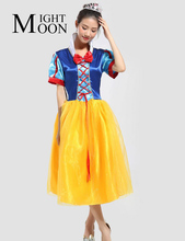 MOONIGHT Snow White Costume Women Adult Halloween Costumes For Women Princess Snow White Cosplay Long Fancy Dress Costume(China)