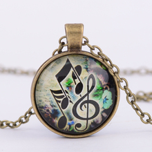 3 Colors Vintage Glass Cabochon Green Music Key Pendant Necklaces Art Photo Music Pendant necklace Jewelry G41