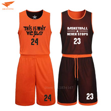 2017 Men Reversible Basketball Set Uniforms kits Sports clothes Double-side basketball jerseys DIY Customized Training suits(China)