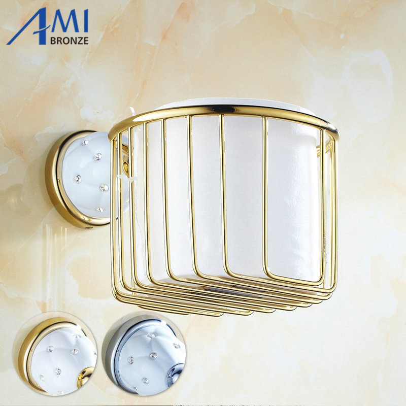 63GD Series Golden Polish Paper Holders With Diamond Wall Mounted Bathroom Accessories Paper Shelf  Bathroom Round Basket<br>