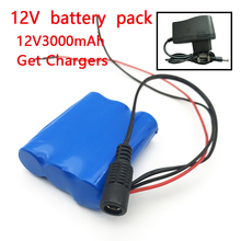 12 V 3000 mAh 18650 Li-ion Rechargeable battery Pack for CCTV Camera 3A Batteries+ 12.6V 1A Charger(China)