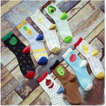 2017 Rushed New Arrival Women Socks Calcetines Mujer Autumn And Winter Socks Korea Cute Cotton In Tube Taka Sha Fruits Female