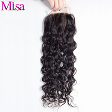 Mi Lisa Water Wave Closure with Bay Hair Three Way Part Remy Human Hair 4X4 Lace Closure Bleached Knots Natural Color Free Ship