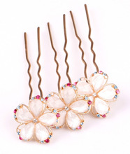 Gold Color Crystal Rhinestones alloy Flower Hair Clip Hairpin New Fashion(China)