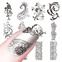 WUF 1 Sheet Optional Water Decals Transfer Stickers Nail Art Stickers Charm DIY Lace Flower Designs Fashion Accessories