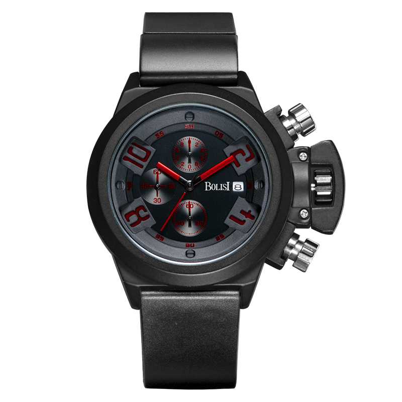 Business Men Watches Men Waterproof  &amp;  Chronograph Silicone Band Quartz Wrist Wristwatch Military Male Clock Free Shipping<br>