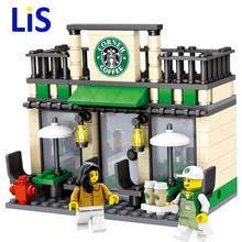 Lis City Series Mini Street Model Store Shop with Apple Store McDonald`s Building Block Toys Compatible with Lepin Hsanhe