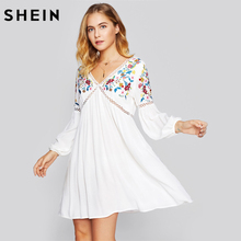 Buy SHEIN Lace Insert Botanical Embroidery Lantern Sleeve Dress White V Neck 2017 Womens Dress Long Sleeve V Back Sexy Dress for $23.97 in AliExpress store