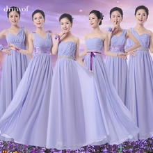 Long Cheap Bridesmaid formal dresses sister wedding bride party chiffon dress 2017 under 50 women clothing color lavender plus