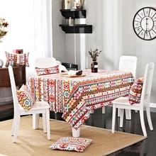 Bohemia Style 100% Cotton Tablecloth Colorful Geometric Pattern for Home Decoration Suitable for Rectangle Tables