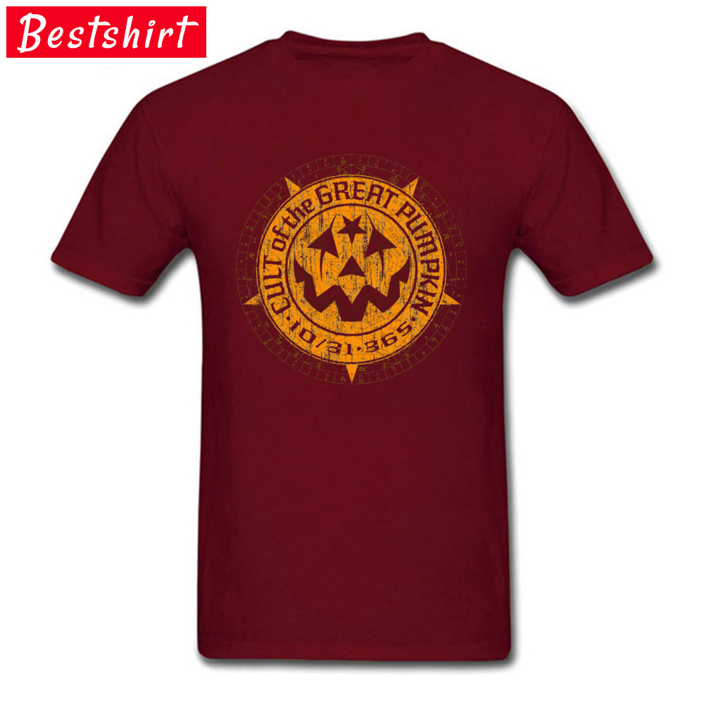 Casual Normal Short Sleeve Tops T Shirt Summer/Autumn Crew Neck 100% Cotton Boy T-Shirt Normal Tee-Shirts 2018 Cult of the Great Pumpkin Alchemy Logo 15715 maroon