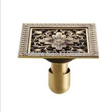 12*12cm 2017 Wholesale Antique Bronze finish Fashion design Euro Square floor drain shower drain bathroom furniture JM5002(China)