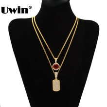 Men Full Iced Out Cz Gold Silver Filled Square Dog Tag Pendant Necklace And Mini RoundRhinestone Necklace Set Hiphop Cuban Chain(China)