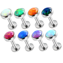 1Pc 16G Opal Piercing Labret Stud Langue Lip Stud Piercing Ear Cartilage Ear Stud Ombligo Earring Ear Piercing Body Jewelry(China)