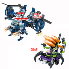 New City heroes Dragon Fury Super police 8in2 building block figures Command post helicopter fighter robot bricks toys for kids(China)