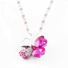 Charming Fine Jewelry Accessories Imitation Crystal Lucky Four-leaf Clover Pendant Necklace NL-0052