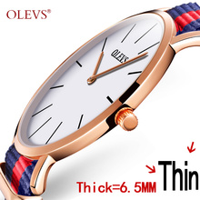 OLEVS Summer Style Colorful Watch Ultrathin Dial Canvas Strap Dress Quartz Wristwatch Men Clock Top Business Male Watches G5868B(China)