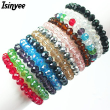 ISINYEE Fashion Glass Crystal Beaded Bracelets Elastic Rope Bracelet Femme For Girls Women Handmade Wrap Statement Jewelry