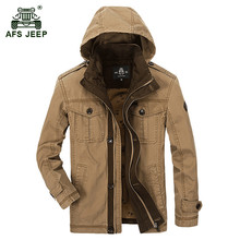 AFS JEEP 2017 Men's autumn casual brand 100% pure cotton khaki jacket coat spring man hooded army green jackets coats outerwear
