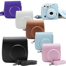 For Fujifilm Instax Mini 8 Camera Mini 8 Plus 9 PU Leather Bag Case with Shoulder Strap / Clear Crystal Hard Protective Cover(Hong Kong)