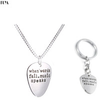 Letter Guitar Pick Pendant Necklaces For Women When Words Fail Music Speaks Lovers Best Friends Keychain Collier Men Jewelry
