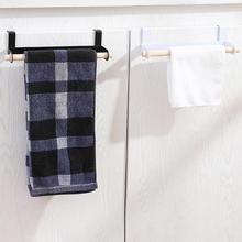1PC Door Back Bathroom Pole Towel Rack Kitchen Solid Wood Wipes Hanging Racks Removable Over Door Hook Hanging Shelves V3(China)