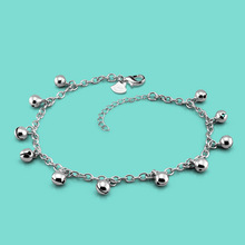 lady 925 sterling silver anklets casual the bell design Silver chains girl Summer popular silver jewelry Solid silver anklets(China)
