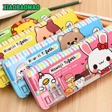 207 Multi-function Automatic Pencil Box Practical Double Layer Plastic Pencil Case School Supplies Gift wholesale