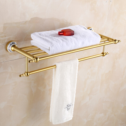 Golden aluminum towel rack shelf Bathroom double towel rack towel shelf antique bathroom towel holder shelf bathroom hardware<br>