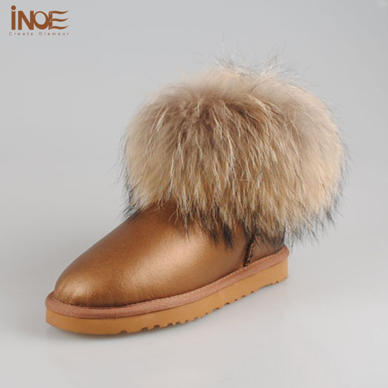 Real genuine leather fashion women short ankle snow boots fox fur winter boots flats shoes waterproof high quality free shipping<br><br>Aliexpress