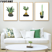 FOOCAME Plant Cactus Aloe Vera Posters and Prints Art Canvas Painting Modern Home Decor Wall Pictures For Living Room(China)