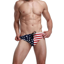 2018 New American Flag Mens Bikini Swimwear Men's Swimming Trunks Mens Swim Briefs Sexy Sunga Maillot De Bain Homme Zwembroek(China)
