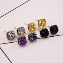 fashion jewelry accessories alloy gold color  mix color drop ans Square stud earring best Valentine's Day  gift for girl  E302