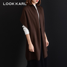 LOOK KARL 100% Wool Scarf Men/Women Fashion Designer Winter Luxury Brand Long Warm Pashmina Shawl Wrap Scarves Brown(China)