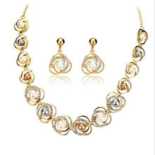 Classic High Quality Saturn Rose Type Pendant Beaded Necklaces with Pearl Gold Color Jewelry Set Earring For Woman Gift