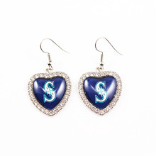 6Pairs/lot Heart Silver Crystal Earrings Glass Snap Baseball MLB Seattle Mariners Charms Dangle Earrings Diy Drop Earrings