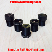 5PCS 3MP 2.8mm 3.6mm 6mm 8mm F2.0 CCTV Fixed Iris IR Board Lens M12 MTV Interface Mount for Video Surveillance Analog IP Camera