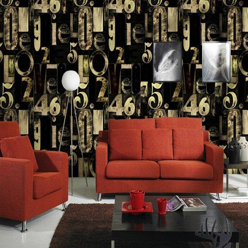 Free Shipping 3D Stereo Blue Black English Letter Wallpaper Fashion KTV Bar Restaurant Living Room studio Video Wallpaper<br>