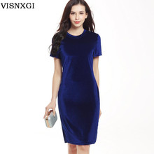 Buy Ladies velvet fashion Women dresses summer ladies O Neck short sleeve elegant work business casual party pencil knee dress S304 for $8.17 in AliExpress store