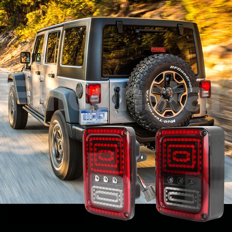 LED Reverse Brake Light Rear Fog Lamp LED Tail Lights Assembly for Jeep Wrangler<br>