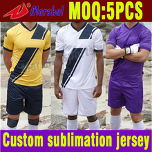 Free Shipping Football Uniform Set Thai Quality  100% Polyester Sublimation Football Soccer Shirt Set