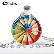 HZ--A356 New Coloring Pencils necklace Rainbow Colored Pencils Art Necklace Gift for Artist Cabochon Necklace Teacher Gift HZ1(China)